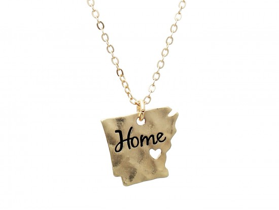 Gold Arkansas State Map Home Necklace