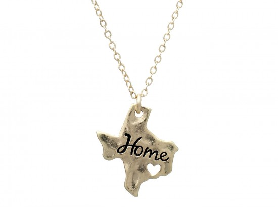Gold Texas State Map Home Necklace