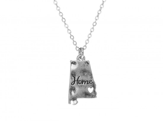 Silver Alabama State Map Home Necklace