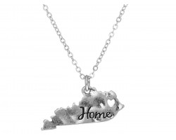 Silver Kentucky State Map Home Necklace
