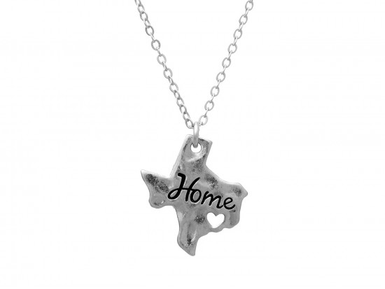Silver Texas State Map Home Necklace