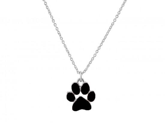 Black Enamel Paw Print Silver Chain Necklace