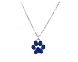 Blue Enamel Paw Print Silver Chain Necklace