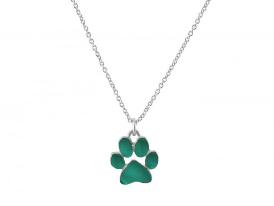 Green Enamel Paw Print Silver Chain Necklace