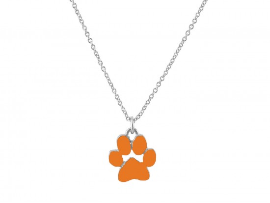 Orange Enamel Paw Print Silver Chain Necklace