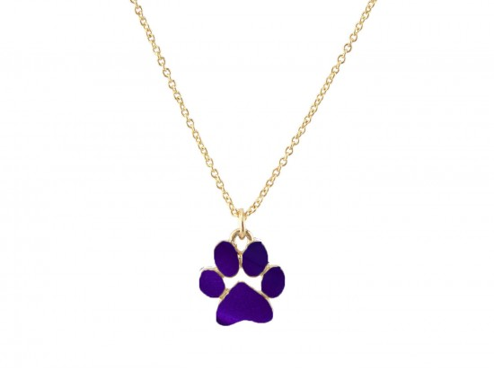 Purple Enamel Paw Print Gold Chain Necklace