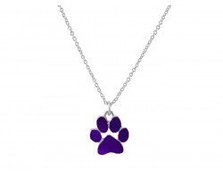 Purple Enamel Paw Print Silver Chain Necklace