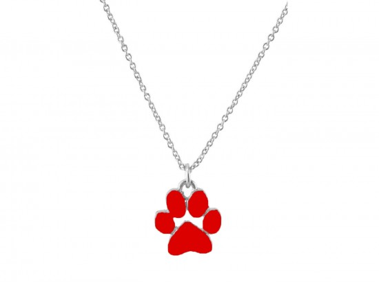 Red Enamel Paw Print Silver Chain Necklace
