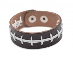 Brown Football Theme Leather Snap Bracelet