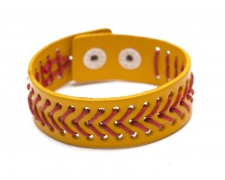 Yellow Softball Theme Leather Snap Bracelet