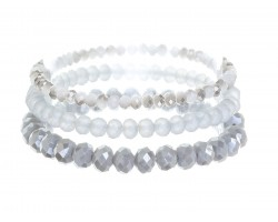Gray Crystal Stretch Bracelets 3 Set