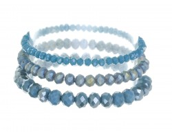 Blue Denim Crystal Stretch Bracelets 3 Set
