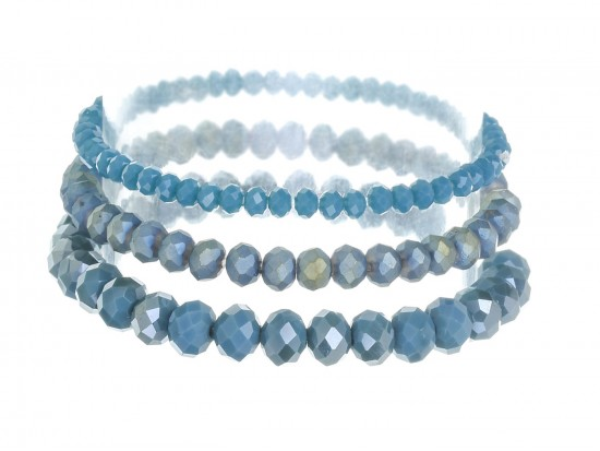 Blue Denim Crystal Stretch Bracelets 3 Set