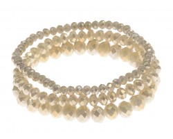 Beige Crystal Stretch Bracelets 3 Set