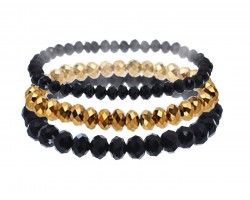 Black Gold Crystal Stretch Bracelets 3 Set