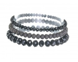 Black Jet Crystal Stretch Bracelets 3 Set