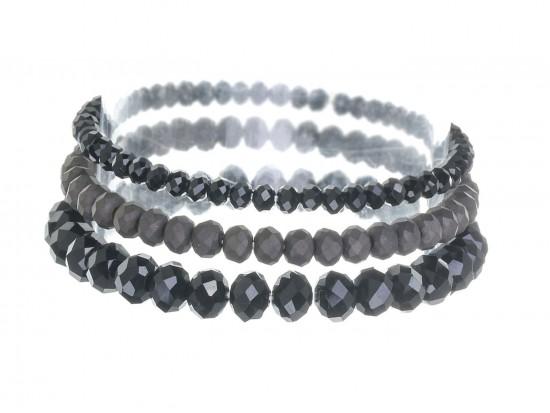 Black Jet Crystal Stretch Bracelets 3 Set