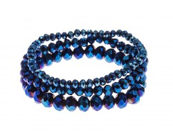 Blue Metallic Crystal Stretch Bracelets 3 Set