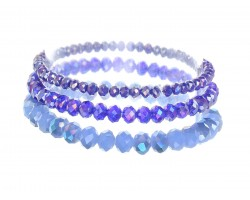 Blue Crystal Stretch Bracelets 3 Set
