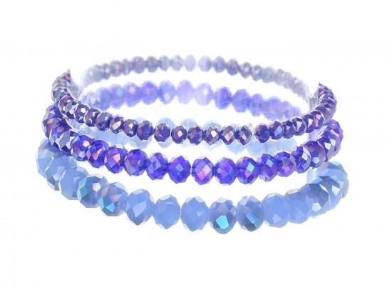 Blue Crystal Stretch Bracelets 3 Set
