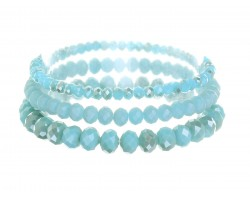 Green Sea Opal Crystal Stretch Bracelets 3 Set