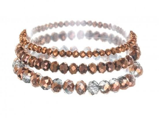 Copper Crystal Stretch Bracelets 3 Set