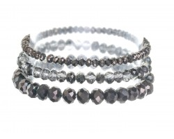 Hematite Crystal Stretch Bracelets 3 Set