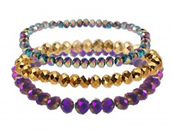 Mardi Gras Crystal Stretch Bracelets 3 Set