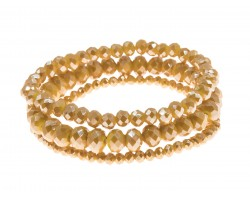 Mustard Yellow Crystal Stretch Bracelets 3 Set