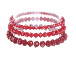 Red Crystal Stretch Bracelets 3 Set
