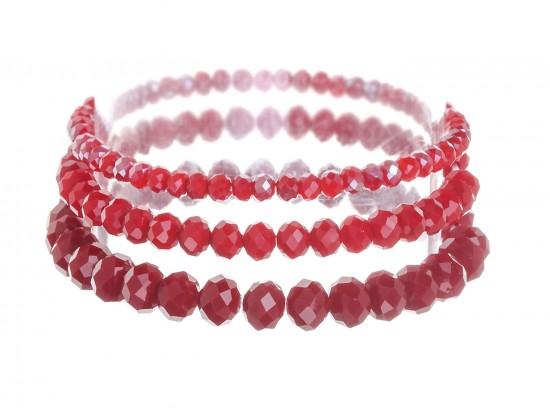 Red Crystal Stretch Bracelets 3 Set