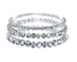 Silver Crystal Stretch Bracelets 3 Set