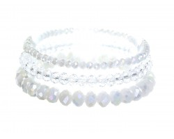 White Opal Crystal Stretch Bracelets 3 Set