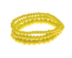 Yellow Crystal Stretch Bracelets 3 Set