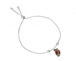 Brown Football Crystal Charm Bracelet