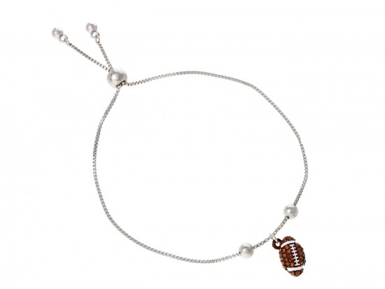Brown Football Crystal Charm Bracelet