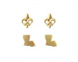 Gold Louisiana Map Fleur De Lis Post Earring Set