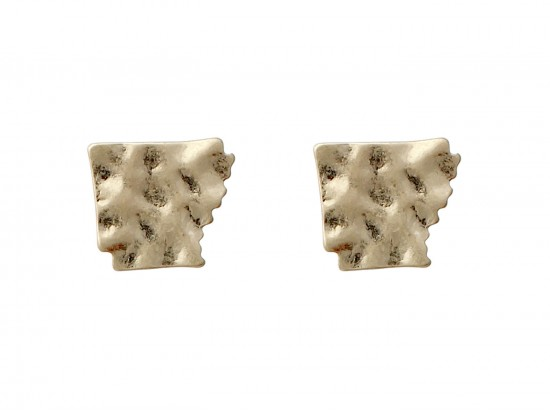 Gold Arkansas State Map Hammered Post Earring