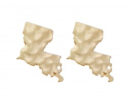 Gold Louisiana State Map Hammered Post Earring