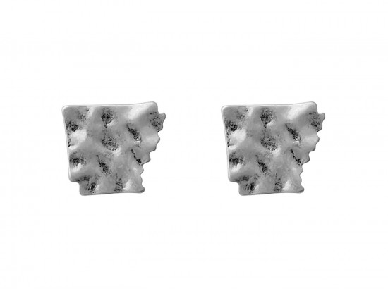 Silver Arkansas State Map Hammered Post Earring