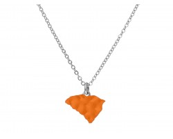 Orange South Carolina State Map Silver Chain Necklace