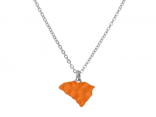 Orange South Carolina State Map Silver Chain Necklace