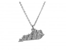 Silver Kentucky State Map Chain Necklace