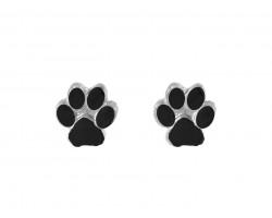 Black Mini Paw Print Silver Post Earrings