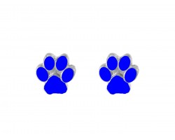 Blue Mini Paw Print Silver Post Earrings