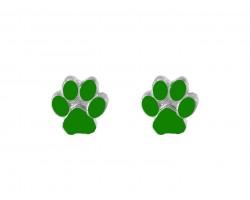Green Mini Paw Print Silver Post Earrings