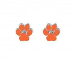 Orange Mini Paw Print Silver Post Earrings