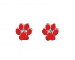 Red Mini Paw Print Silver Post Earrings