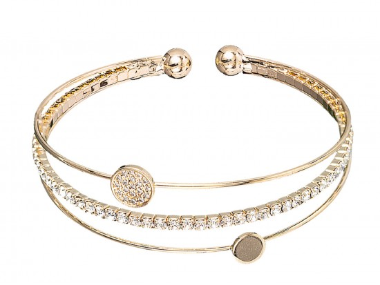 Gold CZ Crystal 3 Line Memory Wire Bracelet