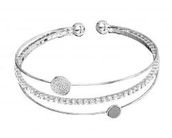 Silver CZ Crystal 3 Line Memory Wire Bracelet